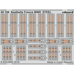 eduard 49106 Seatbelts STEEL France WWII 1/48 Cinturones de seguridad en fotograbado coloreado para los aviones franceses durante la Segunda Guerra Mundial.