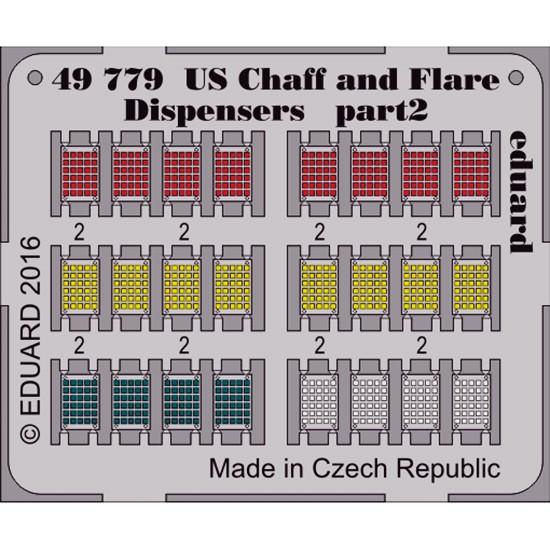 eduard 49779 US Chaff and Flare Dispensers 1/48 Dispensadores de contramedidas y bengalas en fotograbado coloreado para las maquetas de los aviones americanos modernos