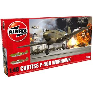 AIRFIX a05130 Curtiss P-40B Warhawk Incluye 2 opciones de decoración: A: P40B Lt. George Welch, 47th PS, 15th PG, December 1941 Hawaii B: B: Hawk 81-A-2 No47 (P-8127) Robert T. Smith, 3rd Squadron (Hell's Angels) American Volunteer Group, Kunming, China, June 1942