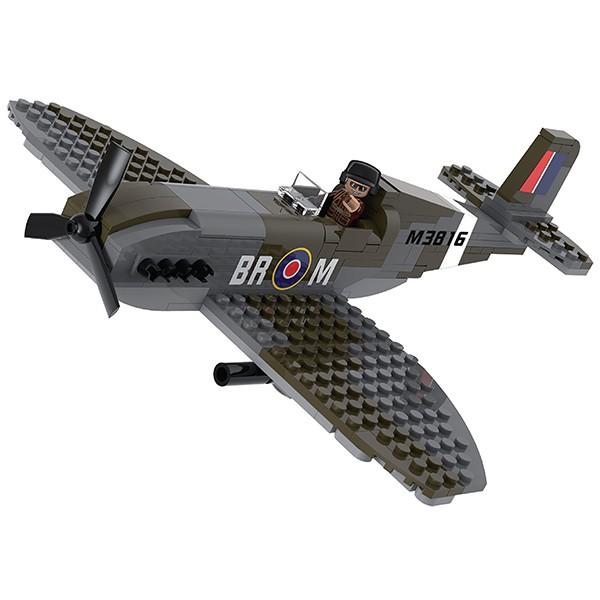 Sluban M38 70071 WWII Operation Overlord Spitfire Juego de construcción por bloques de plástico compatibles con Lego y otras marcas. Una forma fácil y divertida de construir tus primeros modelos y favorecer el desarrollo e imaginación de niño