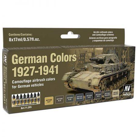acrylicos vallejo model air AV71205 German Colors 1927-1941 El set German Colors 1927-1941 contiene 8 colores Model Air en 17 ml., para pintar los vehículos alemanes desde 1927 hasta 1941. Incluye en la contraportada esquemas de camuflaje realizados por Euromodelismo.