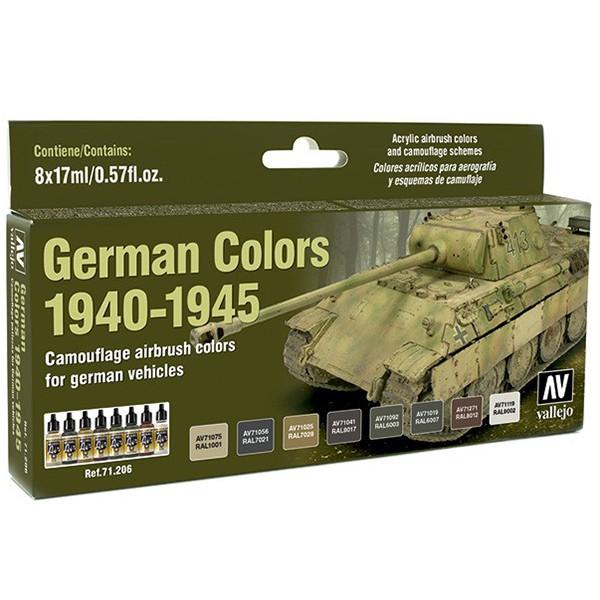 acrylicos vallejo model air av71206 German Colors 1940-1945 El set German Colors 1940-1945 contiene 8 colores Model Air en 17 ml., para pintar los vehículos alemanes desde 1940 hasta 1945. Incluye en la contraportada esquemas de camuflaje realizados por Euromodelismo.