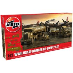 airfix a06304 WWII USAAF 8th Air Force Bomber Resupply Set 1/72 Kit en plástico para montar y pintar. Vehículos incluidos en el set: Cushman Model 39 Package Car. Chevrolet M6 Bomb Service Truck. M5 Bomb Trailer. Autocar U-7144-T 4x4 Tractor Unit. F-1 Fuel Trailer.