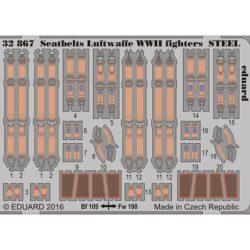 eduard 32867 Seatbelts STEEL Luftwaffe Fighters WWII 1/32 Cinturones de seguridad en fotograbado coloreado para los aviones de caza alemanes durante la Segunda Guerra Mundial.