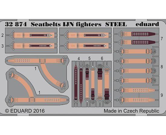 eduard 32874 Seatbelts STEEL IJN Fighters WWII 1/32 Cinturones de seguridad en fotograbado coloreado para los aviones de caza de la marina japonesa durante la Segunda Guerra Mundial.