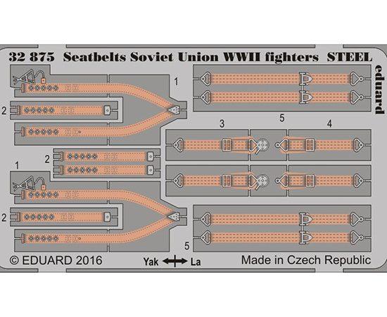 eduard 32875 Seatbelts STEEL Soviet Union Fighters WWII 1/32 Cinturones de seguridad en fotograbado coloreado para los aviones de caza soviéticos durante la Segunda Guerra Mundial