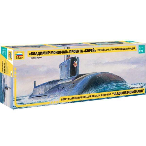 zvezda 9058 Borey-Class Russian Nuclear Ballistic Submarine 1/350 Kit en plástico para montar y pintar. Longitud 486 mm