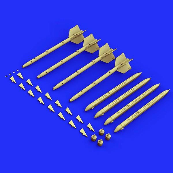 eduard brassin 648303 AIM-9G/H Sidewinder Rockets 1/48 Brassin set. Incluye 4 cohetes AIM-9G/H Sidewinder.
