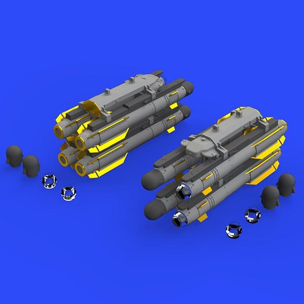 eduard brassin 672148 AGM-114 Hellfire air-to-surface rockets 1/72 Kit en resina y fotograbado para 2 packs con 4 cohetes AGM-114 Hellfire aire-tierra cada uno.