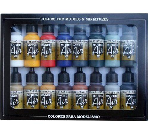 acrylicos vallejo 71178 AV71178 Set de Colores Básicos Set de 16 colores básicos Model Air para pintar maquetas y miniaturas.