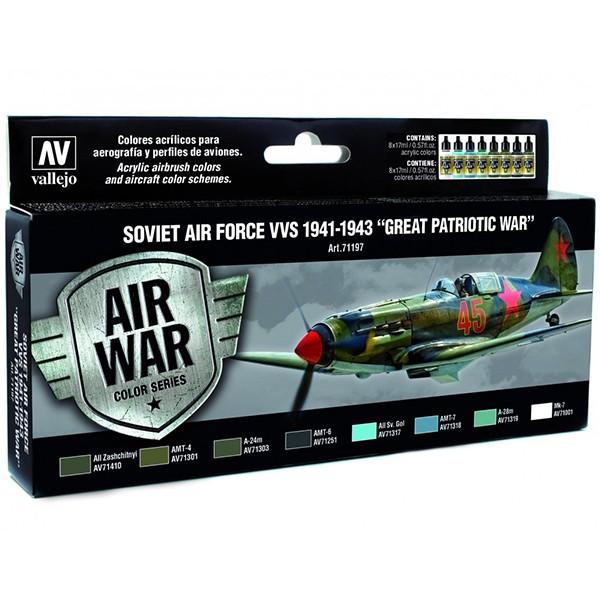 av71197 Soviet Air Force VVS 1941 to 1943 Great Patriotic War Set de 8 colores Model Air de 17 ml para aerografía.