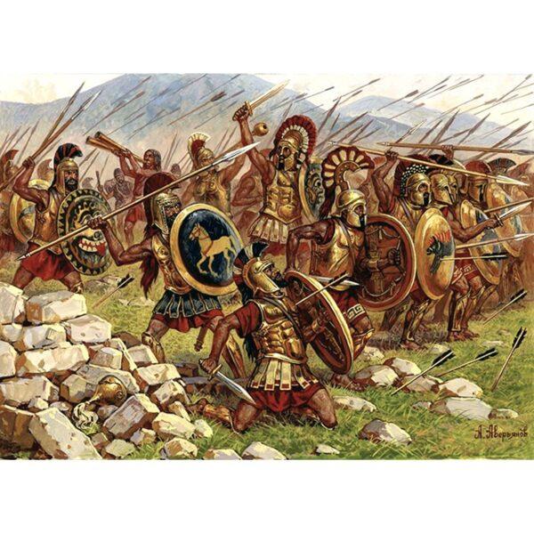 Zvezda 8068 Spartans Espartanos V-IV B.C. Kit en plástico para montar y pintar. Incluye 41 figuras a pie en 12 posturas distintas.