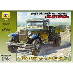 zvezda 3602 Gaz AA Soviet Army 1,5 ton Truck WWII Kit en plástico para montar y pintar. Piezas 139 Longitud 155mm