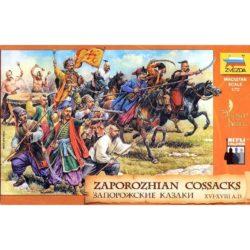 zvezda 8064 Zaporozhian Cosacks XVI-XVIII Kit en plástico para montar y pintar. Incluye 8 figuras montadas a caballo y 19 figuras a pie en 11 posturas diferentes.