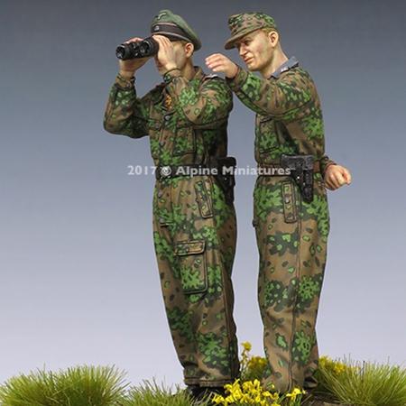 alpine miniatures 35234 WSS Panzer Officer at Kursk Set Kit en resina para montar y pintar. El kit incluye 2 figuras y 4 cabezas