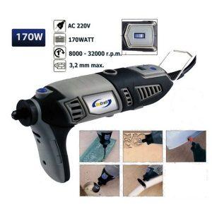 chaves 06012 Maletín de Taladro 170Watt con 190 Accesorios 220Volt Juego de taladro eléctrico en un práctico maletín con tapa transparente.