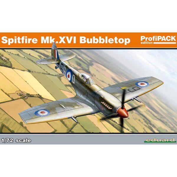 eduard 70126 Spitfire Mk.XVI Bubbletop ProfiPACK Edition Kit en plástico para montar y pintar un Spitfire Mk.XVI Bubbletop, con cabina de burbuja y alas tardías (con un abultamiento por encima de los pozos de las ruedas). Incluye piezas en fotograbado y mascarillas.