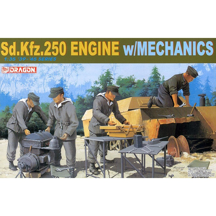 dragon 6112 Sd.Kfz.250 Engine w/Mechanics Kit en plástico para montar y pintar.