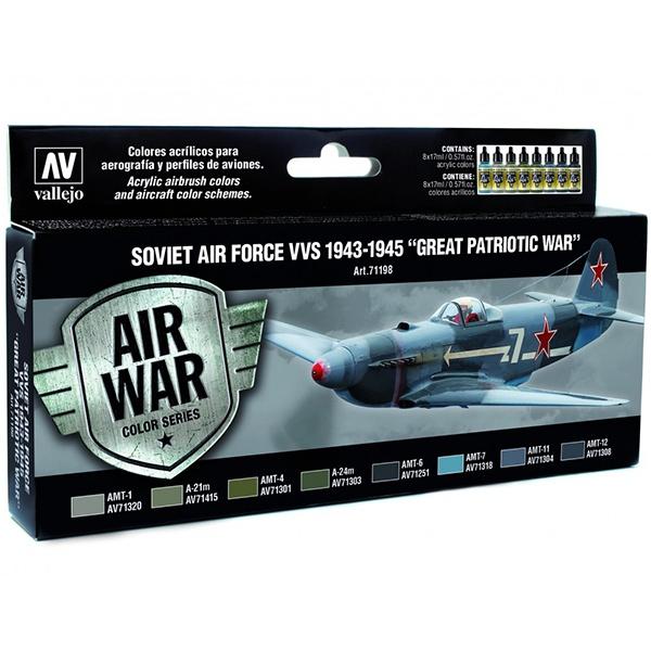 acrylicos vallejo AV71198 Soviet Air Force VVS 1943 to 1945 Great Patriotic War Set de 8 colores Model Air de 17 ml para aerografía.
