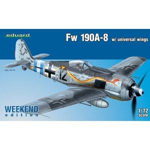 eduard 7443 Focke Wulf Fw 190A-8 w/ universal wings Weekend Kit en plástico del famoso caza alemán para montar y pintar. Hoja de calcas con 2 decoraciones