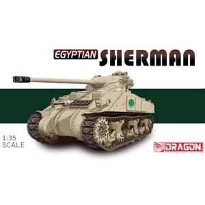 dragon 3570 Egyptian Sherman Kit en plástico para montar y pintar. Representa un Sherman egipcio formado por un casco de Sherman M4A2 Diesel con una torreta FL-10 del AMX-13.