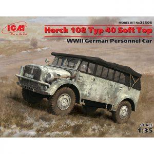 icm 35506 Horch 108 Typ 40 Soft Top, WWII German Personnel Car Kit en plástico para montar y pintar.