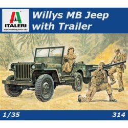 italeri 0314 Willys MB Jeep with Trailer Kit en plástico par amontar y pintar.