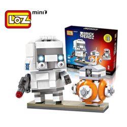 Loz 1502 Star Wars trooper + BB8 Brick Headz 240 pcs Construye y colecciona con los bloques de Loz, tus personajes favoritos.