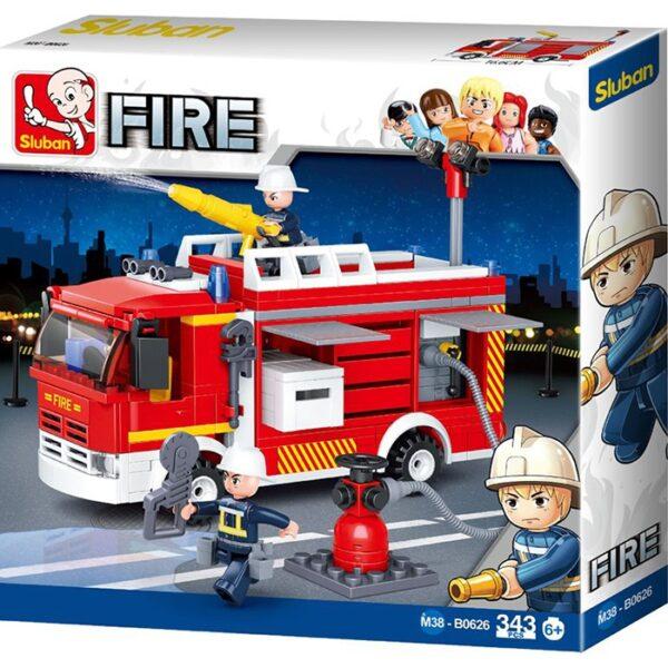 Sluban B0626 Fire Conventional Pumper Juego de construcción por bloques de plástico compatibles con Lego y otras marcas. Una forma fácil y divertida de construir tus primeros modelos y favorecer el desarrollo e imaginación de niño.