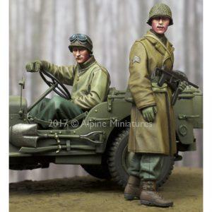 alpine miniatures 35243 WW2 US NCO & Driver Set Figuras en resina para montar y pintar.