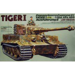tamiya 35146 German Heavy Tiger I Late Version Kit en plástico para montar y pintar. Hojas de calcas con varias decoraciones. Incluye figura.