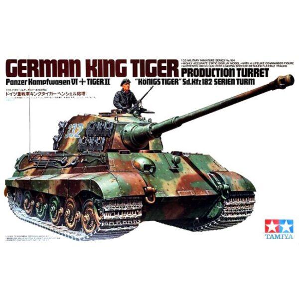 tamiya 35164 German King Tiger Production Turret Kit en plástico para montar y pintar. Hojas de calcas con varias decoraciones. Incluye figura.