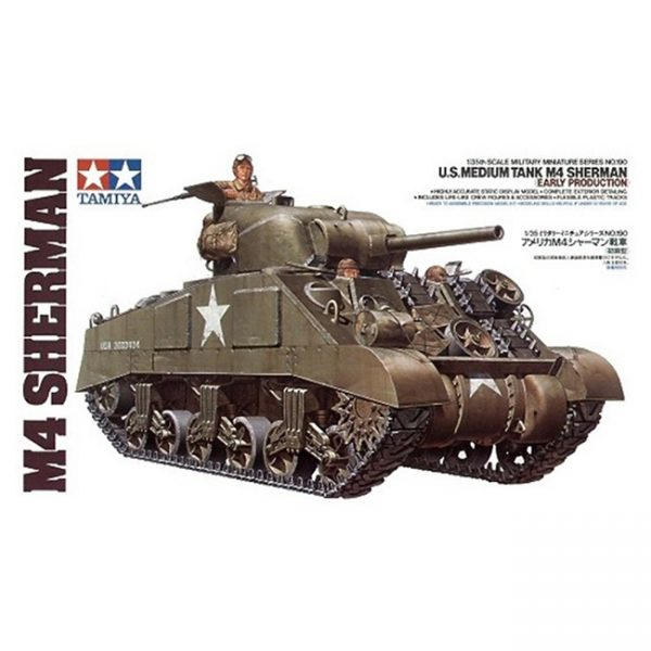 tamiya 35190 U.S. Medium Tank M4 Sherman Early Production Kit en plástico para montar y pintar.
