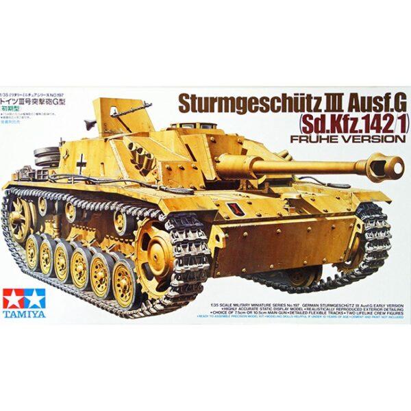 tamiya 35197 German Sturmgeschutz III Ausf.G Early Version Kit en plástico para montar y pintar. Incluye 2 figuras de carristas con su mascota. Varias opciones de decoración.