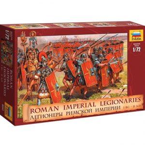 """zvezda 8043 Roman Imperial Legionaries I B.C. II A.D. Legionarios vestidos con armadura de placas, """"lorica segmentata"""" y armados con lanzas y pilastras con espadas de doble filo. Parte de los soldados están en posición de """"Tortuga""""."""