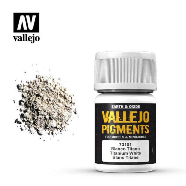 acrylicos vallejo 73101 Pigmento Vallejo Blanco Titanio 35ml Los pigmentos de Acrylicos Vallejo son una selección de tierras naturales y pigmentos sintéticos elegidos en función de su permanencia y resistencia a la luz.