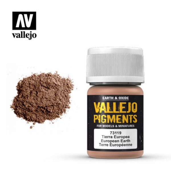 acrylicos vallejo 73119 Pigmento Vallejo Tierra Europea 35ml Los pigmentos de Acrylicos Vallejo son una selección de tierras naturales y pigmentos sintéticos elegidos en función de su permanencia y resistencia a la luz