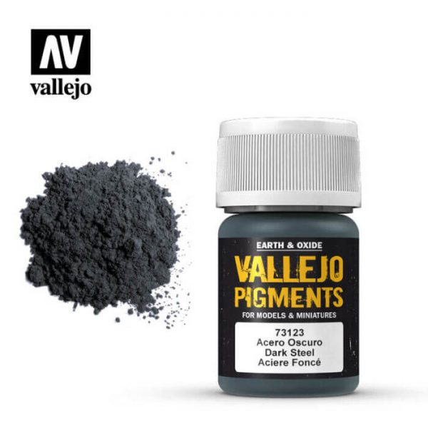 acrylicos vallejo 73123 Pigmento Vallejo Acero Oscuro 35ml Los pigmentos de Acrylicos Vallejo son una selección de tierras naturales y pigmentos sintéticos elegidos en función de su permanencia y resistencia a la luz.