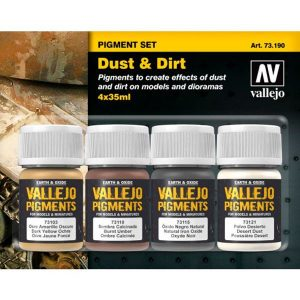 acrylicos vallejo av 73.190 Set de Pigmentos Polvo y Suciedad Estuche de pigmentos para recrear los efectos de polvo y suciedad en las maquetas, figuras y dioramas. Contiene 4 botes de 35ml.