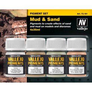 acrylicos vallejo av 73.191 Set de Pigmentos Barro y Arena Estuche de pigmentos para recrear los efectos de polvo y suciedad en las maquetas, figuras y dioramas. Contiene 4 botes de 35ml.