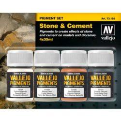 acrylicos vallejo av 73.192 Set de Pigmentos Piedra y Cemento Estuche de pigmentos para recrear los efectos de polvo y suciedad en las maquetas, figuras y dioramas. Contiene 4 botes de 35ml.