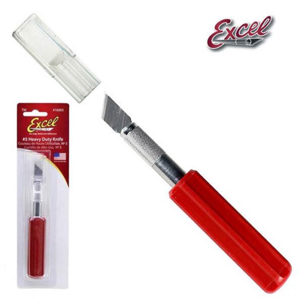 Excel 16005 Cutter Nº 5 Cutter Nº 5 con mango ergonómico, incluye tapa protectora. Especialmente recomendado para cortar materiales duros.