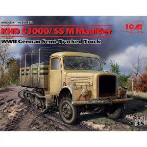 icm 35453 KHD S3000/SS M Maultier WWII German Semi-Tracked Truck Kit en plástico para montar y pintar. Incluye cadenas por tramo y eslabón y motor detallado.