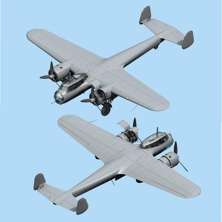 icm 48244 Dornier Do-17Z-2 WWII German Bomber Kit en plástico para montar y pintar. Interior de cabina, bodega de bombas y motor detallados.