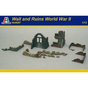 italeri 6087 Walls and Ruins 1/72 Kit en plástico para montar y pintar. Incluye ruinas, muros y trincheras de sacos.