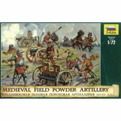 zvezda 8027 Medieval Field Powder Artillery XIV-XV A.D. KIt en plástico para montar y pintar. Incluye 3 cañones, 10 figuras y 2 caballos.