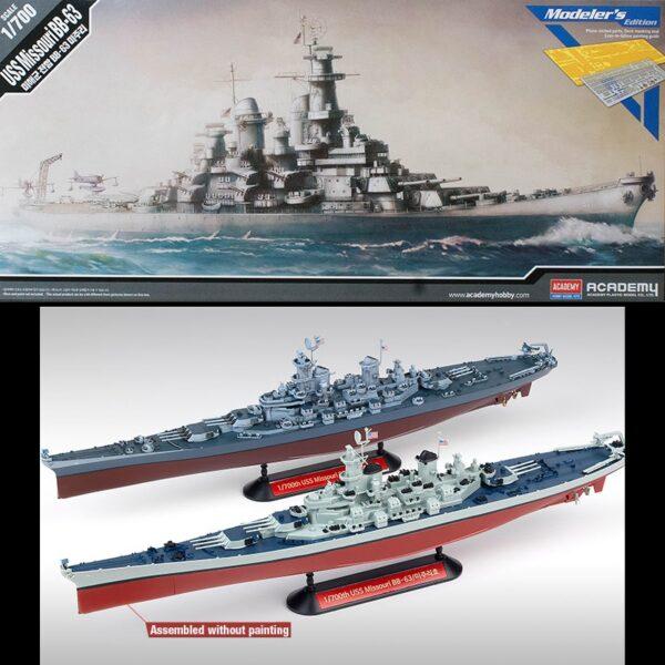 academy 14223 USS Missouri BB-63 Modeler's Edition 1/700 Kit en plástico para montar y pintar el acorazado de la clase Iowa en la versión de la 2ª Guerra Mundial.