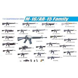 dragon 3801 M-16 AR-15 Family Kit en plástico para montar y pintar. Incluye diferentes modelos de la familia de fusiles de asalto americanos M-16 / AR-15 ( 2 unidades de cada modelo)