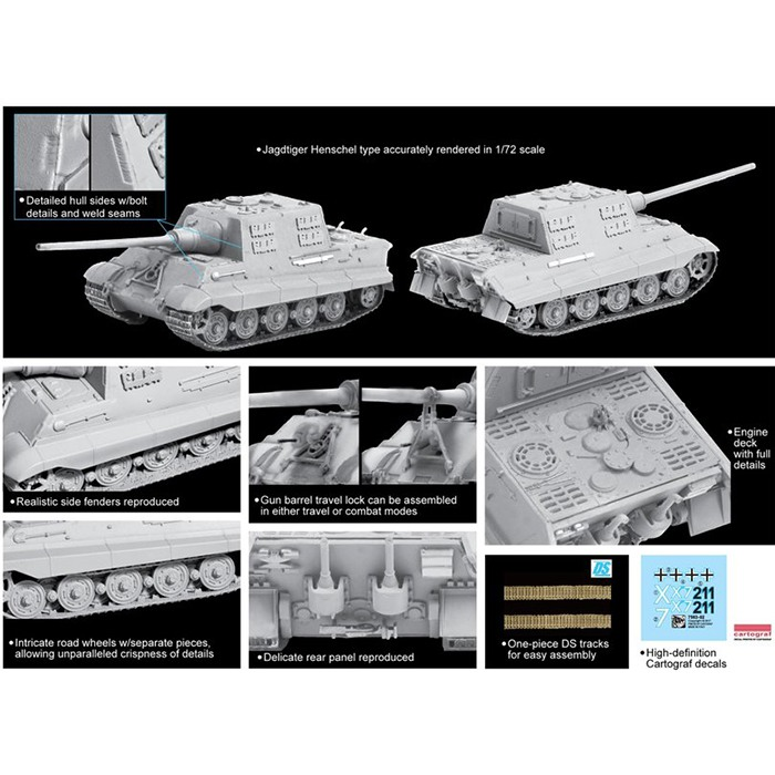 dragon 7563 Sd.Kfz.186 Jagdtiger Henschel Production Type Kit en plástico para montar y pintar. Dos opciones de decoración