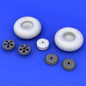 eduard 632061 Mosquito FB Mk. IV wheels 1/32 Kit en resina de las ruadas del Mosquito FB Mk.IV para la maqueta de HKM. Contenido: Piezas en resina 7 y mascarilla.
